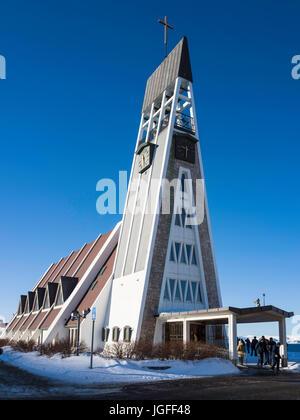 Hammerfest Church (1961) is the parish church for Hammerfest municipality in Finnmark County, Norway - Stock Photo