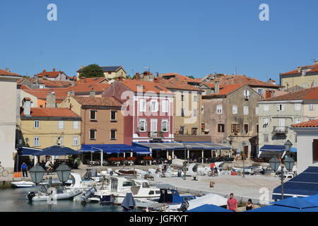 Cres, Croatia - June 18, 2017 - City of cres with boats and blue sky - Stock Photo