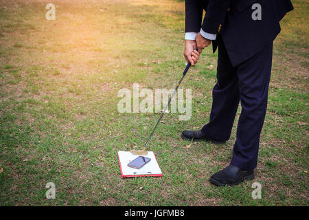 Abstract business man  preparing to shoot clipboard and smartphone in reduce stress at work. business concept relax - Stock Photo