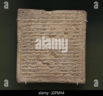 Tablet commemorates building of house. Reign of King Ashur-Uballit I. 1363-1328 BC. Ashur, Iraq. British Museum. - Stock Photo