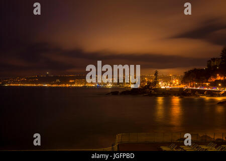 Skyline of viña del mar chile at night Stock Photo