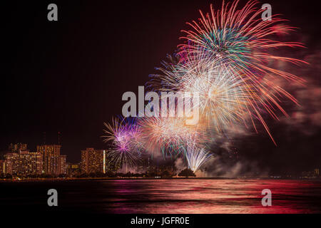 A view of the July Fourth fireworks at Ala Moana beach park from Point Panic in Honolulu. - Stock Photo