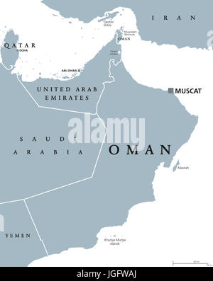 Oman political map with capital Muscat. Sultanate and Arab country in Western Asia and Middle East on the Arabian - Stock Photo