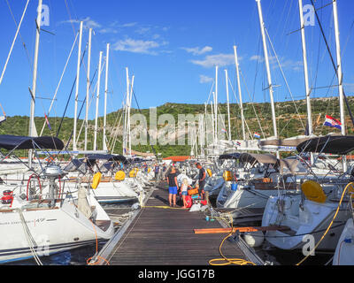 Yachts at marina Kremik, Primosten town, Croatia, sunmmer 2016 - Stock Photo