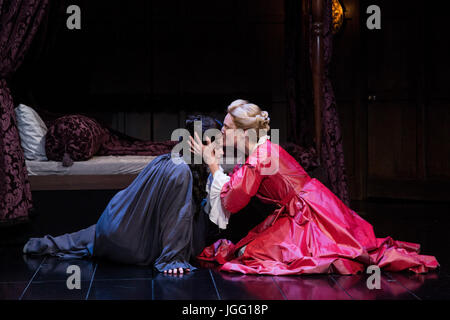 London, UK. 6th July, 2017. L-R: Emma Cunniffe and Romola Garai. After a sold out run at the Swan Theatre in Stratford - Stock Photo