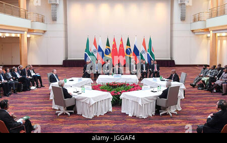 Hamburg, Germany. 7th July, 2017. Chinese President Xi Jinping presides over an informal leaders' meeting of the - Stock Photo