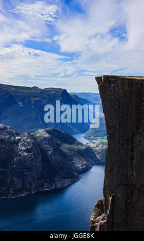 Beautiful summer view with nobody of the world famous Preikestolen (Preacher's Pulpit or Pulpit Rock), Stavanger, - Stock Photo