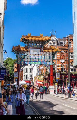 Chinatown gate on Wardour Street, Soho, City of Westminster, London,W1D, England, UK. - Stock Photo