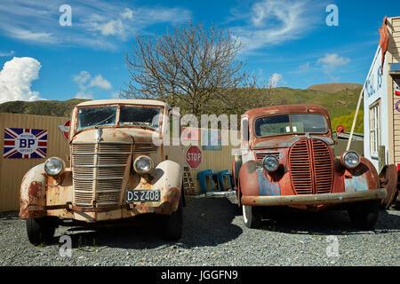 Retro pickup trucks at Three Creeks Trading Company, Burkes Pass, Mackenzie Country, Canterbury, South Island, New - Stock Photo