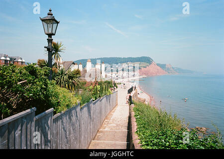 Sidmouth on the South Devon coast, in summertime, from Connaught gardens, Devon, South West England - Stock Photo