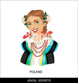 Digital vector funny cartoon smiling poland woman in national dress with beads, flowers in hair, abstract flat style - Stock Photo