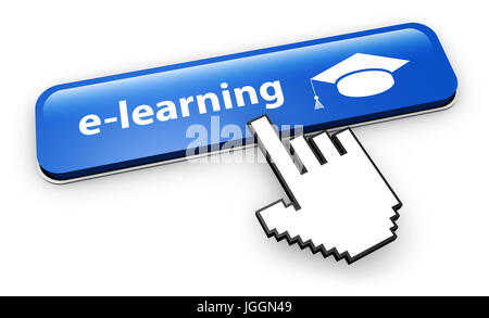 E-learning and online education web button 3D illustration on white background. - Stock Photo