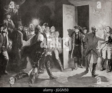 Frederick the Great surprising Austrian officers at Lissa after his victory at the Battle of Leuthen, Prussian Silesia, - Stock Photo