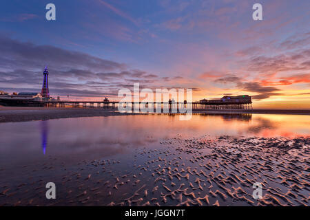 Blackpool; Tower; North Pier; Shore; Lancashire; UK - Stock Photo