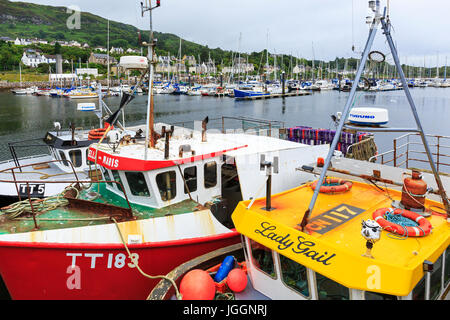 Fishing boats tied up at Tarbert harbour, Loch Fyne with yachts in the marina behind. Scotland, UK - Stock Photo