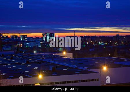 Bucharest at sunrise in the district Lujerului - Stock Photo