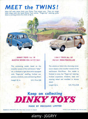 Meccano Magazine - Full page colour Dinky Toy adverts - 1961 - Realistic toys in competition with Corgi models that - Stock Photo