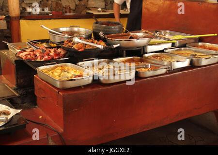 Self Service, food, wood stove, 2016, center, Lavras, Minas Gerais, Brazil. - Stock Photo
