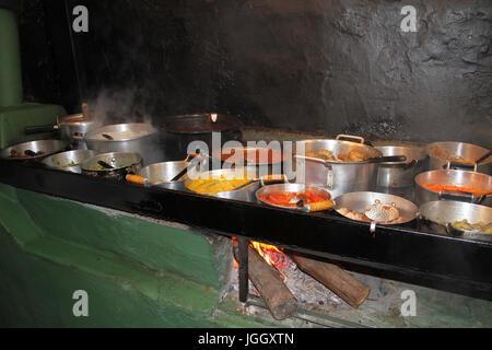 Self Service, food, wood stove, 2016, center, São Tomé das Letras, Minas Gerais, Brazil. - Stock Photo
