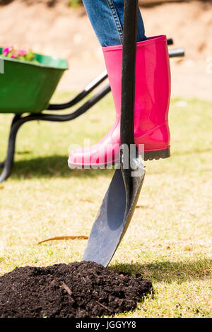 Low section of woman in rubber boot with shovel at lawn on sunny day - Stock Photo