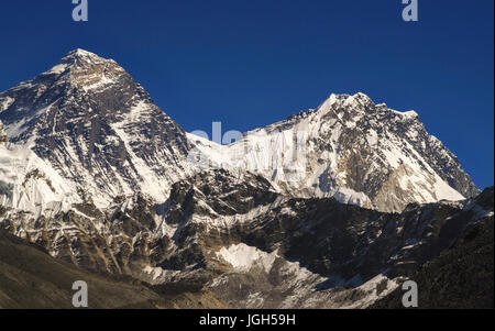 Telephoto of South Ridge and Hillary Step of Mount Everest from Scoundrel Ridge in Gokyo Valley in Nepal Himalaya - Stock Photo