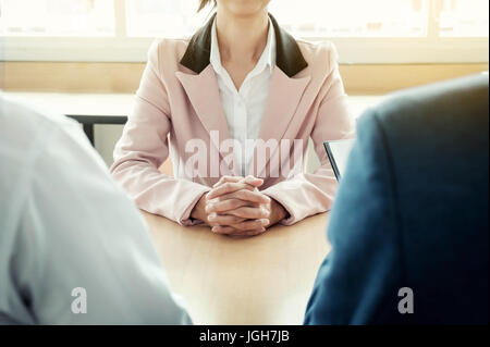 beautiful woman and her job interview in office (work). - Stock Photo