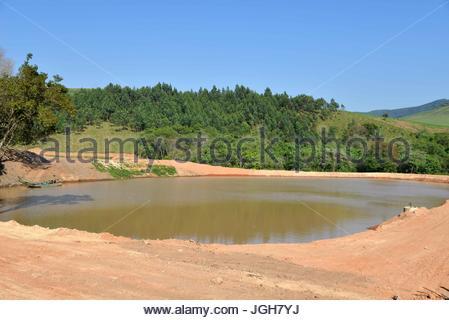 Weir in the countryside, Munhoz, Minas Gerais, Brazil. 10.2015 - Stock Photo