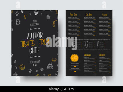 Design of a black menu for a restaurant or cafe. A template of the front and back pages of the A4 format, with drawings - Stock Photo