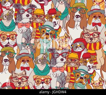 Fashion cats and dogs in glasses color seamless pattern. - Stock Photo