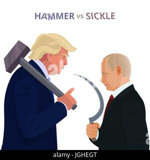 Donald Trump and Vladimir Putin, caricature poster with conceptual inscription Hammer vs Sickle. - Stock Photo