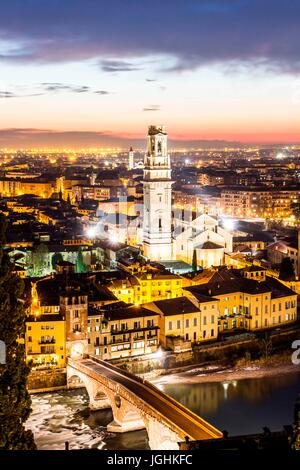 Verona Cathedral, Ponte Pietra and view of the city at evening from Castel San Pietro. Verona, Province of Verona, - Stock Photo