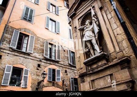 Statue of Michele di Lando on the facade of Loggia del Mercato Nuovo. Florence, Province of Florence, Italy. 18.12.2012 - Stock Photo