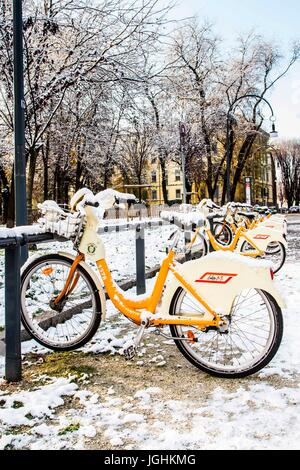 Square covered by snow. Milan, Province of Milan, Italy. 08.12.2012 - Stock Photo