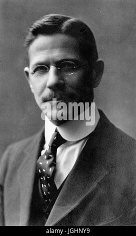 Chest-up portrait of German and German-American studies scholar Albert Bernhardt Faust, 1910. - Stock Photo