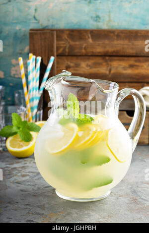 Traditional lemonade in a pitcher - Stock Photo