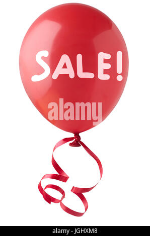 A single red balloon, tied with curly red ribbon, with the word 'SALE!' handwritten in white.  Isolated on white - Stock Photo