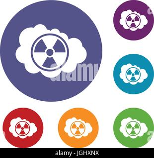Cloud and radioactive sign icons set - Stock Photo