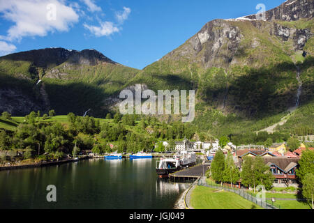 Scenic view to village at end of Aurlandsfjorden on west coast in early summer. Flam, Aurland, Norway, Scandinavia