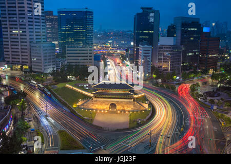 Seoul. Image of Seoul downtown with Sungnyemun Gate during twilight blue hour. - Stock Photo