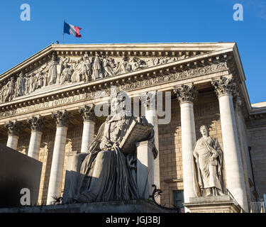 The Palais Bourbon in Paris, seat of the french National Assembly, with the statue of Francois d'Aguesseau and the - Stock Photo