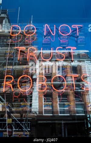 Do Not Trust Robots installation by Eve De Haan, London, UK - Stock Photo