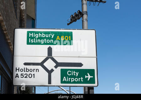 Directions at Old Street roundabout in the City of London, UK - Stock Photo