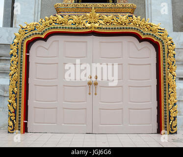 Main door of Buddhist pagoda in Bangkok, Thailand. - Stock Photo