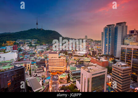Seoul. Image of Seoul downtown during twilight blue hour. - Stock Photo
