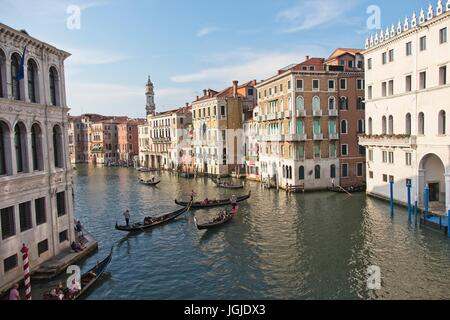 Venice Veneto Italy. The palaces visible from the bridge of Rialto and the usual, classic view with the gondolas - Stock Photo