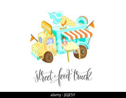 street food truck with ice cream - Stock Photo