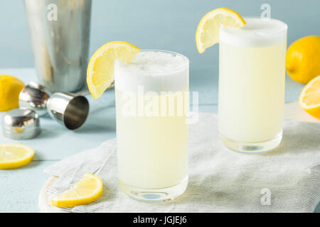 Refreshing Cold Egg Gin Fizz with a Lemon Garnish - Stock Photo
