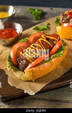 Homemade Burger Hot Dogs with Letttuce Tomato Ketchup - Stock Photo