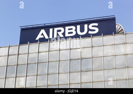 Toulouse,  France - June 2, 2017: Airbus is a division of the multinational Airbus SE that manufactures civil aircraft - Stock Photo