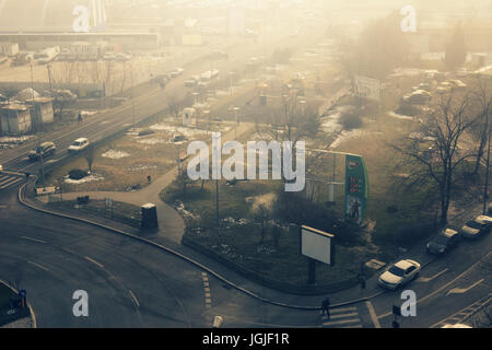 Apocalyptic view of the capital Bucharest, in Romania - Stock Photo